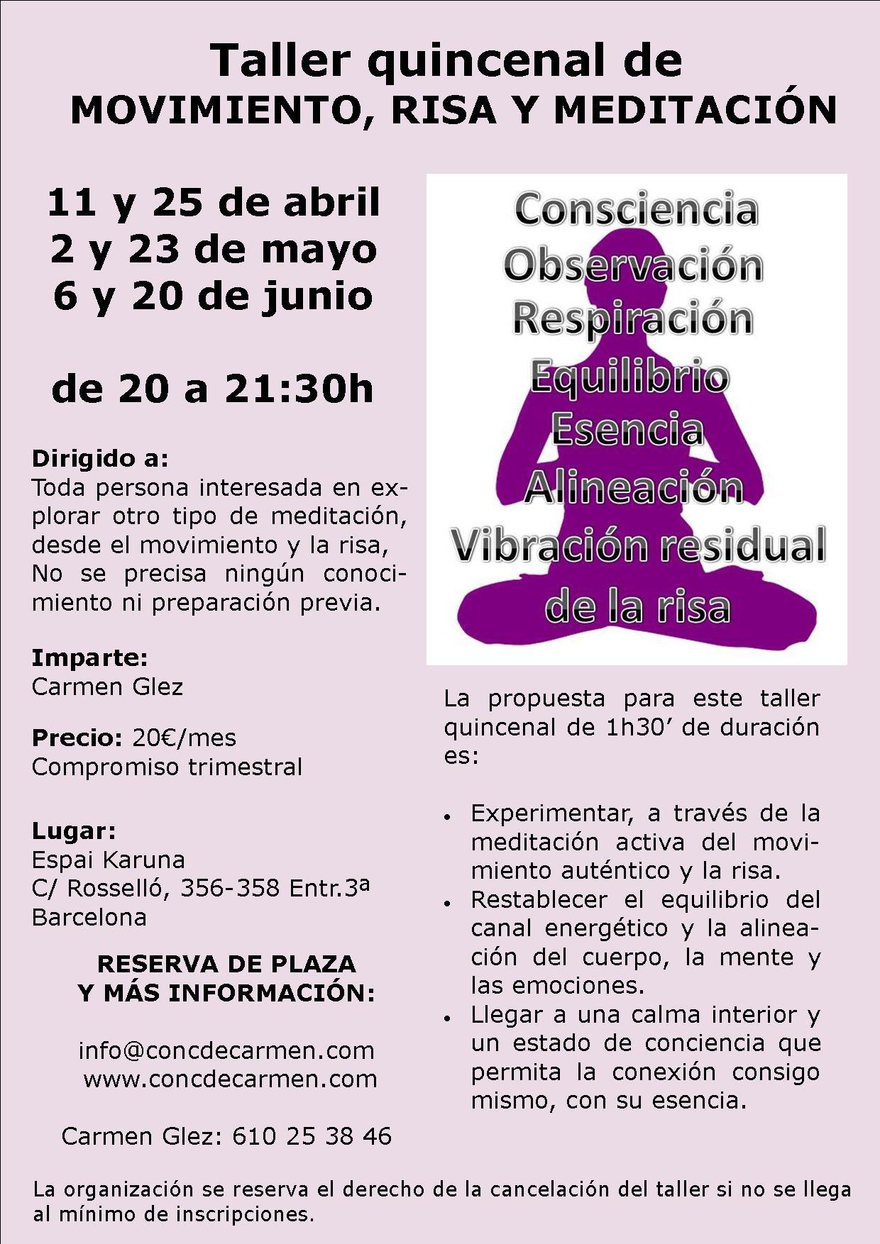 Taller quincenal Movimiento, Risa y Meditación Barcelona